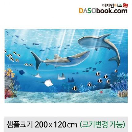 여름바다속배경수족관상어현수막-036