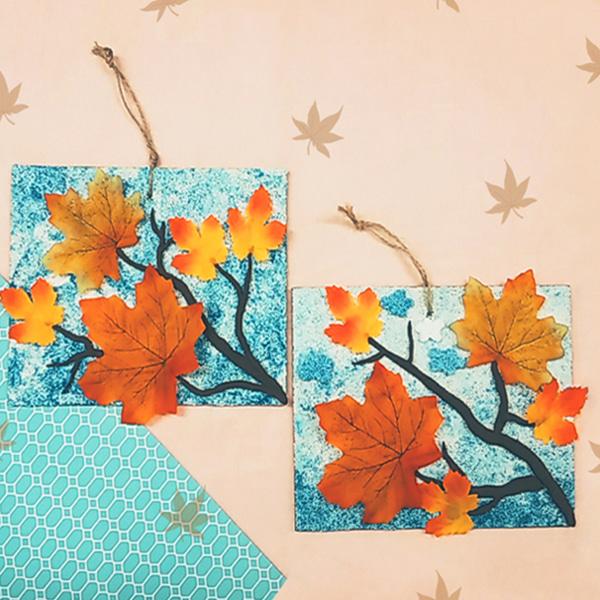가을하늘 붉게 물든 단풍나뭇잎 사이로 - 10인 세트
